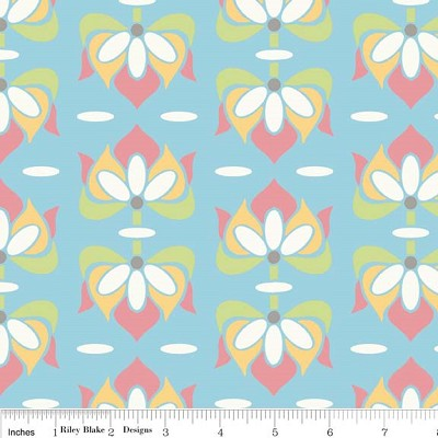 Priscilla C3362 Blue Floral by Lila Tueller for Riley Blake