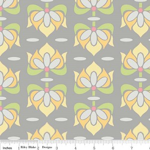 Priscilla C3362 Gray Floral by Lila Tueller for Riley Blake