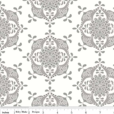Priscilla C3364 Gray Wallpaper by Lila Tueller for Riley Blake