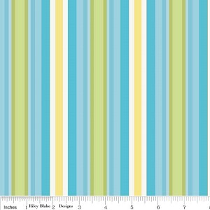 Priscilla C3366 Blue Stripe by Lila Tueller for Riley Blake