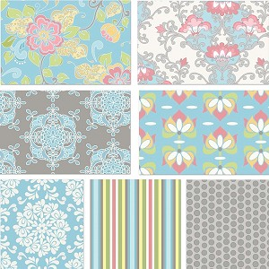 Priscilla 7 Fat Quarter Set in Blue by Lila Tueller for Riley Blake