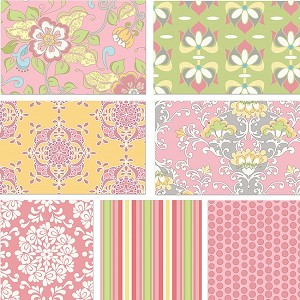 Priscilla 7 Fat Quarter Set in Pink by Lila Tueller for Riley Blake