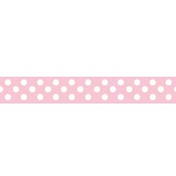 "Dots Grosgrain Ribbon 3/8"" Baby Pink by Riley Blake"