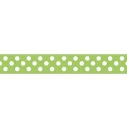 "Dots Grosgrain Ribbon 3/8"" Lime by Riley Blake"