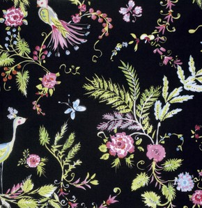 Chinoiserie Chic PWDF193 Black Birdsong by Free Spirit