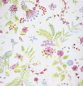Chinoiserie Chic PWDF193 White Birdsong by Free Spirit