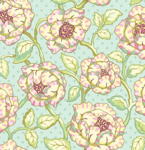 Freshcut PWHB028 Turquoise Cabbage Rose by Heather Bailey