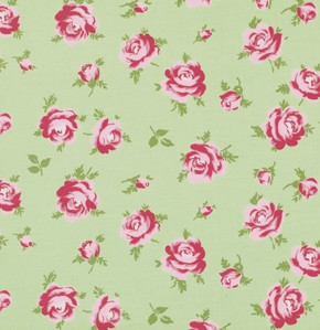 Rosey PWTW062 Green Little Roses by Tanya Whelan for Free Spirit