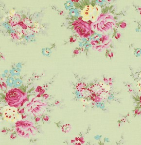 Rosey PWTW064 Green Little Bouquet by Tanya Whelan for Free Spirit