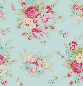 Rosey PWTW064 Teal Little Bouquet by Tanya Whelan for Free Spirit