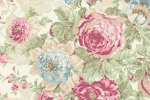 RURU Bouquet RU2200-11A Ecru Large Floral by Quilt Gate