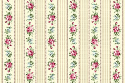 RURU Bouquet RU2200-16A Ecru Floral Stripe by Quilt Gate