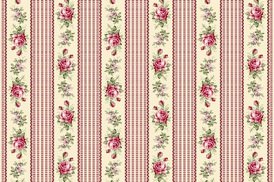 RURU Bouquet RU2200-16E Rose Floral Stripe by Quilt Gate