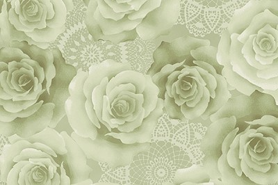 RURU Bouquet RU2200-19C Green Tonal Roses by Quilt Gate