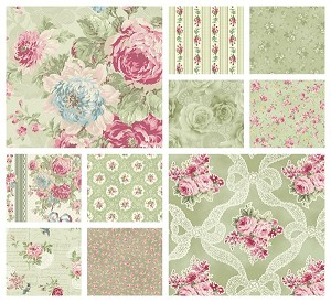 RURU Bouquet 10 Fat Quarter Set in Green by Quilt Gate
