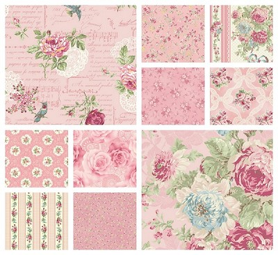 RURU Bouquet 9 Fat Quarter Set in Pink by Quilt Gate
