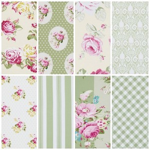 Sunshine Rose 8 Fat Quarter Set in Green by Tanya Whelan