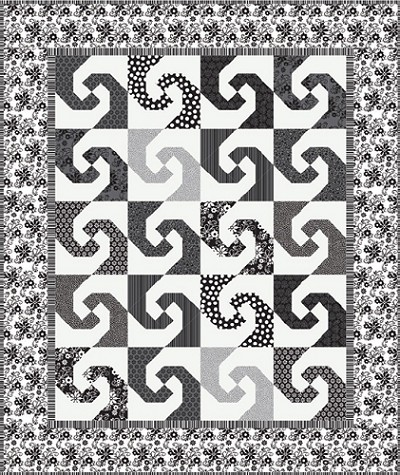 Twirl Quilt Kit - Tuxedo Collection by Riley Blake