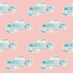 Twice as Nice C3522 Pink Truck by The Quilted Fish for Riley Blake