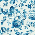 Symphony Rose Blue 25374-MDBLU Large Floral by Red Rooster EOB