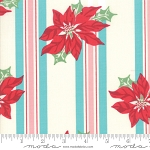 Sweet Christmas 31150-21 Coolmint Poinsettia Stripe by Moda