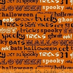 Raven 38985-2 Orange Spooky Words by Rosemarie Lavin for Windham