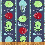 Ahoy Matey! 40152-2 Navy Fish Stripe by Whistler Studios for Windham
