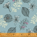 Whisper 41360-3 Soft Blue Leaves & Flowers by Windham