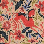Les Fleurs 8011-12 Coral Folk Horse CANVAS by Cotton + Steel