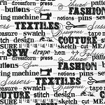 Sewing Studio 14864-1 White Sewing Words by Robert Kaufman