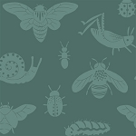 Acorn Trail Organic TW-16 Teal Tonal Bugs by Teagan White for Birch