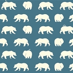 Bear Camp Organic BC-01 Blue Bear Hike by Birch Fabrics