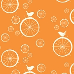 Mod Basics Organic MB-03 Orange Birdie Spokes by Birch Fabrics EOB