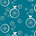 Mod Basics Organic MB-03 Teal Birdie Spokes by Birch Fabrics