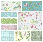 Chinoiserie Chic 9 Fat Quarter Set in Aqua by Free Spirit