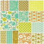 Clementine 14 Fat Quarter Set in Ginger by Free Spirit