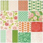 Clementine 14 Fat Quarter Set in Jade by Free Spirit