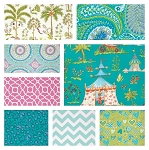 Haute Girls 8 Fat Quarter Set in Aqua by Dena Fishbein for Free Spirit