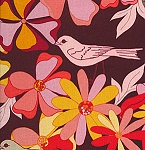 Jenaveve LVW04 Merlot Floral Birds by Valori Wells for Free Spirit