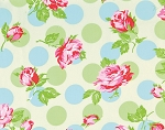 Sugar Hill OCTW002 Ivory Falling Roses Laminated Cotton