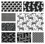 Origami Oasis 8 Fat Quarter Set in Black & White by Michael Miller