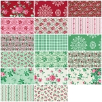 Peppermint Rose 17 Fat Quarter Set by Verna Mosquera for Free Spirit