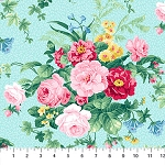 Julia's Garden 21607-41 Blue Large Floral by Northcott