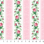 Julia's Garden 21611-21 Pink Floral Stripe by Northcott