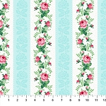 Julia's Garden 21611-41 Blue Floral Stripe by Northcott