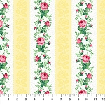 Julia's Garden 21611-51 Yellow Floral Stripe by Northcott