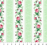 Julia's Garden 21611-71 Green Floral Stripe by Northcott