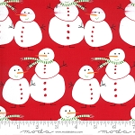 Merry & Bright 22400-11 Poinsettia Red Merry Snowmen by Moda