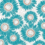 Maker's Home 43152-2 Turquoise Sunflower by Windham EOB