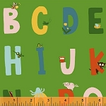 Kinder 43481-6 Green Alphabet by Heather Ross for Windham